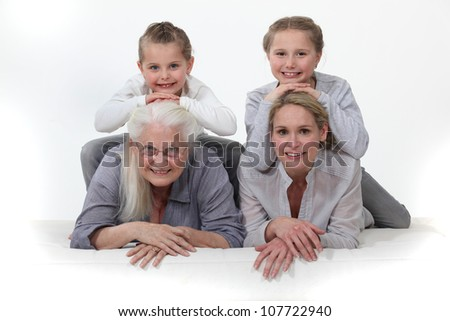 Portrait of different generations - stock photo