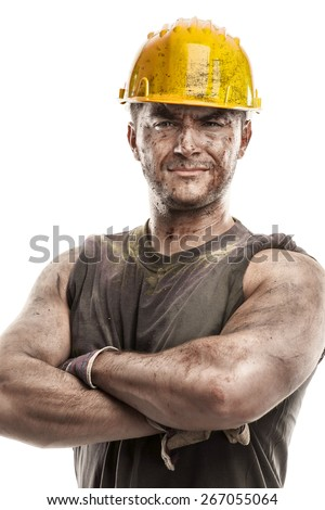 portrait of dirty worker with helmet crossed arms isolated on white background - stock photo