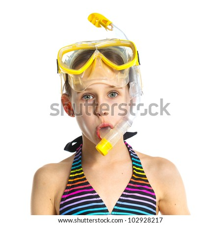 Portrait of diver girl in mask, tube. Isolated on white background