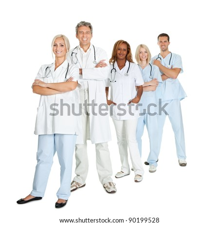 Portrait of diverse group of doctors standing isolated on white background - stock photo