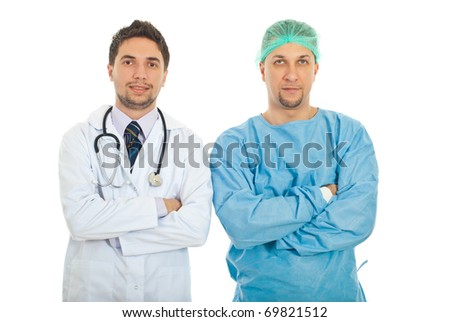 Portrait of doctor and surgeon men standing with arms folded isolated on white background