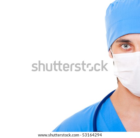 portrait of doctor in mask and blue uniform. isolated on white background - stock photo
