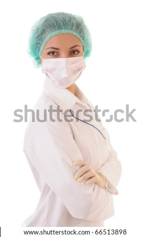 Portrait of doctor in mask and cap isolated on white background - stock photo