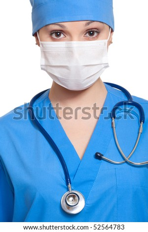 portrait of doctor in mask with stethoscope. isolated on white background