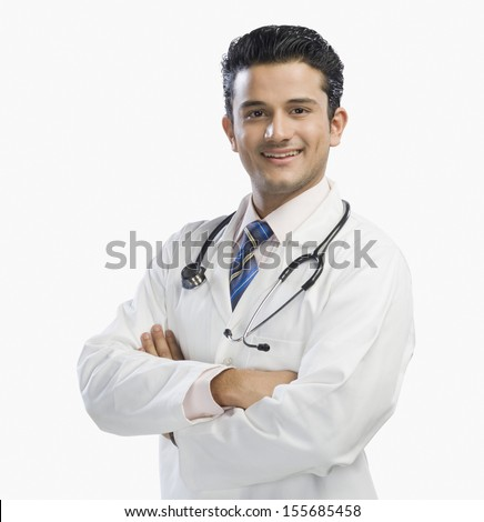Portrait of doctor smiling - stock photo