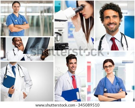 Portrait of doctors at work - stock photo