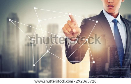 portrait of double exposure businessman working with hightech network concept - stock photo