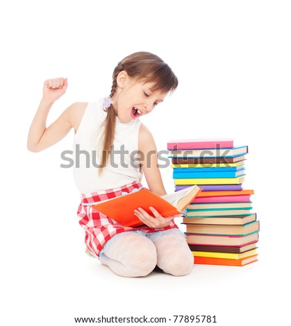 portrait of drowsy little girl with books. isolated on white background - stock photo
