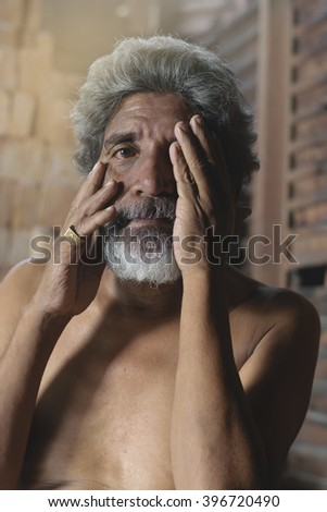 Portrait of Elderly Asian man - stock photo