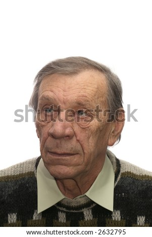 Portrait of elderly man in knitted jumper, isolated on white background