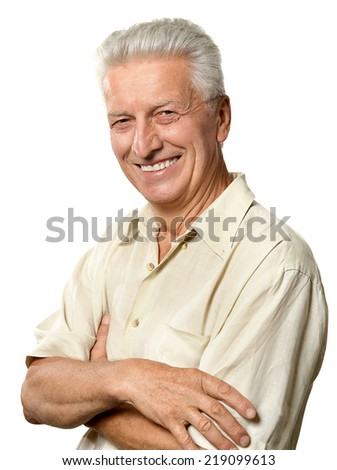 Portrait of elderly man isolated on white background