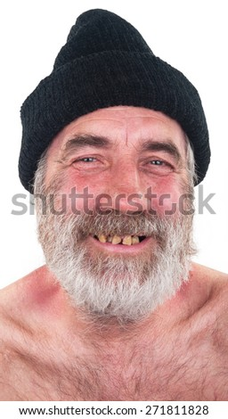 Portrait of elderly man with a beard and black hat - stock photo