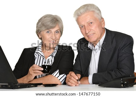 portrait of elderly people working on a white background - stock photo