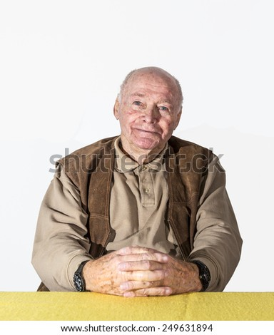 portrait of elderly retired man - stock photo