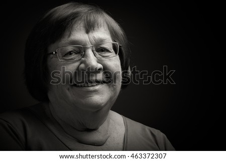 Portrait of elderly woman. Smile. Toned.