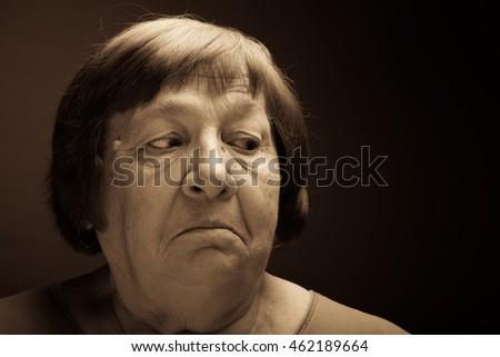 portrait of elderly woman perplexity toned portrait of elderly woman ...