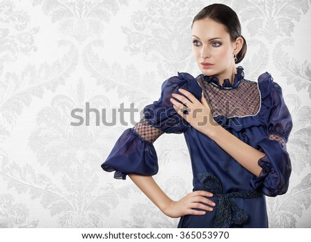 Portrait of elegant beautiful woman with jewellery. Space for text. - stock photo