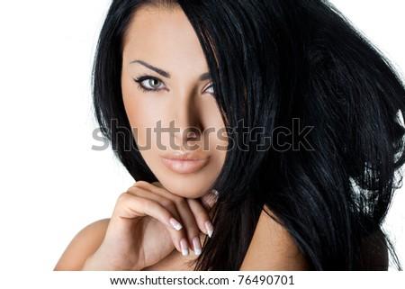 portrait of elegant fashionable woman - stock photo