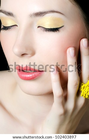 Portrait of elegant girl with evening make-up