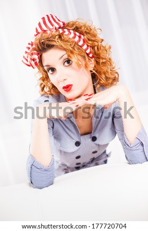 Portrait of elegant retro style woman/housewife.