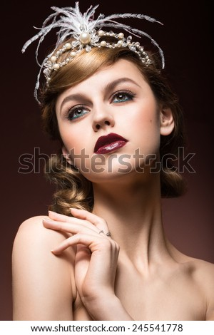 Portrait of elegant retro woman with beautiful hair and dark lips. Beauty face. Picture taken in the studio. - stock photo