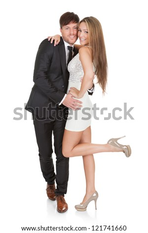 Portrait of elegant young couple. Isolated on white - stock photo