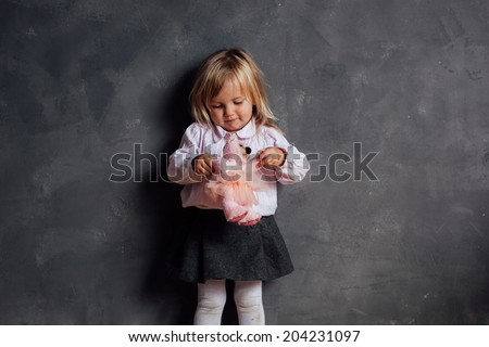 Portrait of emotional little girl