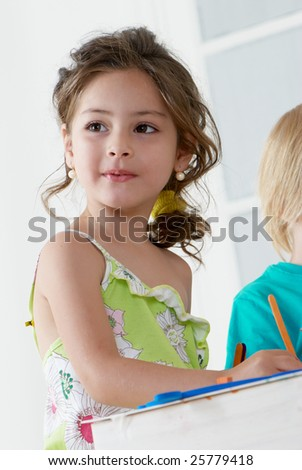 Portrait of emotional little girl - stock photo