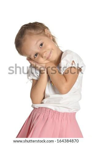 Portrait of emotional little girl on white background - stock photo