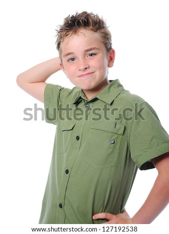 Portrait of emotionally boy. Isolated on a white background