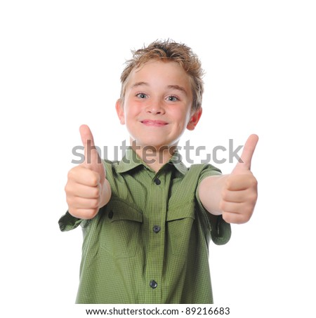 Portrait of emotionally boy. Isolated on a white background - stock photo