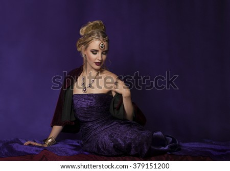 Portrait of empress Theodora in purple reclining - stock photo