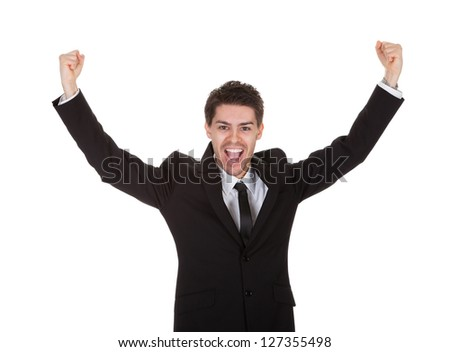 Portrait of excited businessman. Isolated on white - stock photo