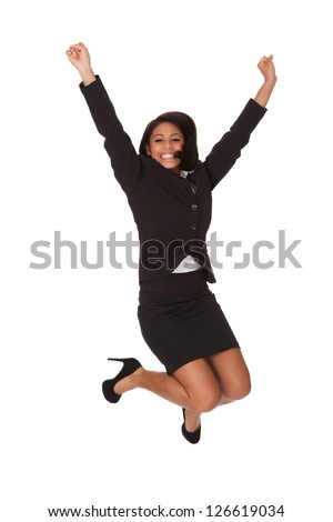 Portrait Of Excited Businesswoman. Isolated on white - stock photo