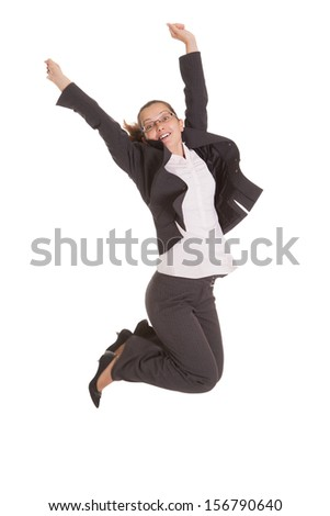 Portrait Of Excited Businesswoman Isolated Over White Background - stock photo