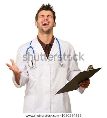 Portrait Of Excited Doctor On White Background
