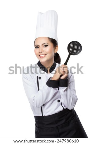 portrait of excited female chef ready to cook isolated over white background - stock photo