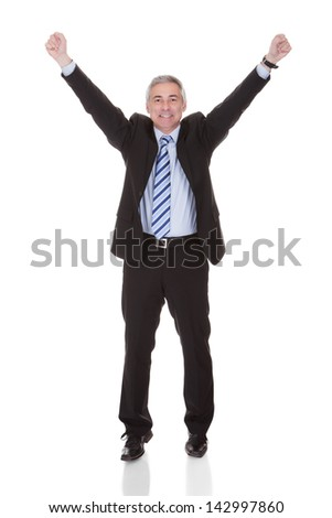 Portrait Of Excited Mature Businessman Isolated Over White Background - stock photo