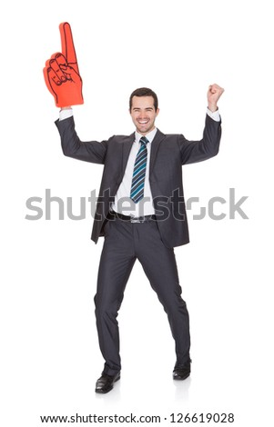 Portrait Of Excited Young Businessman. Isolated on white