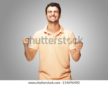 Portrait Of Excited Young� Man, Outdoor - stock photo