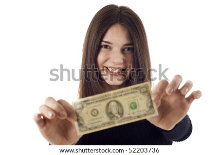 Portrait of excited young woman holding money in the hand, she's stretching the $100 dollar bill, isolated on white background