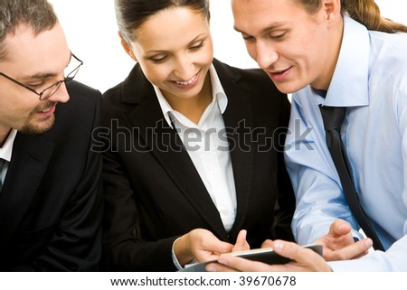 Portrait of executive partners communicating with each other - stock photo