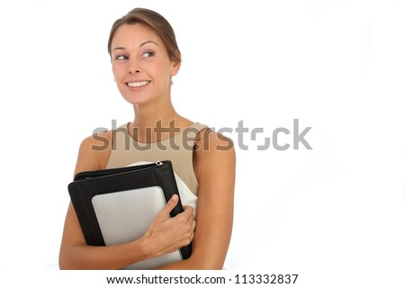 Portrait of executive woman on white background