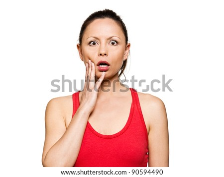 Portrait of expressive surprised woman with eyes wide open in studio isolated on white background - stock photo