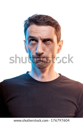 Portrait of expressive thinking man - stock photo