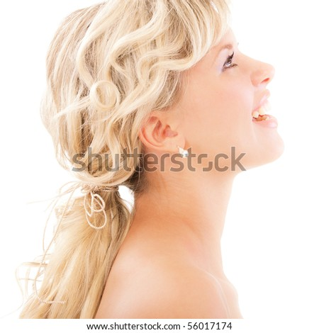 Portrait of fair-haired beautiful girl profile, isolated on white background.