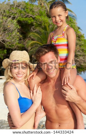 Portrait Of Family On Tropical Beach Holiday - stock photo