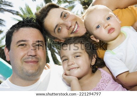 Portrait of family with two children