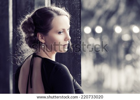 Portrait of fashion beautiful woman outdoor  - stock photo