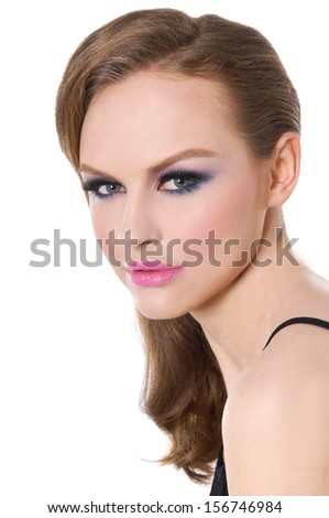 portrait of fashion girl with bright make-up - stock photo